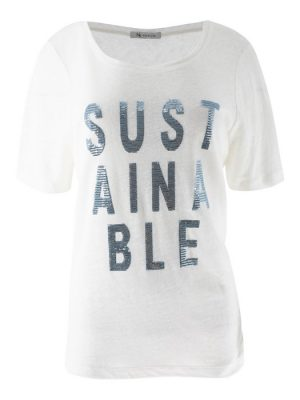 Elsa-Shirt Text Sustainable-Offwhite BabyBlue-XS